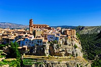 Spain, Europe, Aragon, Teruel, Province, Maestrazgo, Villarluengo, town, Teruel, architecture, belfry, church, medieval, natural, nature, old, picture...