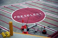 Road Marking 'Preselect' on airport runway