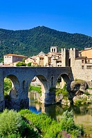 Spain, Europe, Catalonia, Girona Province, Medieval, Besalu, town, Bridge, arch, architecture, besalu, bridge, girona, medieval, skyline, tourism,