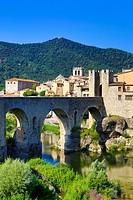 Spain, Europe, Catalonia, Girona Province, Medieval, Besalu, town, Bridge, arch, architecture, besalu, bridge, girona, medieval, skyline, tourism,