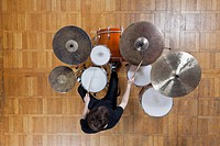 Drummer playing kit