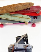 A large format camera and skateboards in a photo studio (thumbnail)