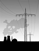 Electric pylons beside nuclear power station releasing smoke resembling a skull