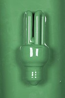 An energy efficient light bulb painted green