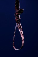 A striped necktie tied into a noose