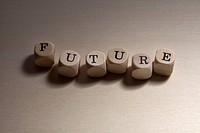 Lettered cubes spelling the word Future