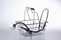 A shopping basket with a stethoscope in it (thumbnail)