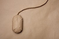 A computer mouse wrapped in brown paper (thumbnail)