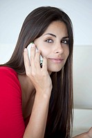 Woman in red on phone