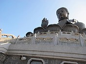 Tian Tan Buddha, or Big Buddha located on Lantau Island in Hong Kong