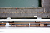View of a dock from the balcony of a passenger ship, Juneau, Alaska