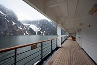 View of Tracy Arm fjord from the walkway of a passenger ship, Alaska