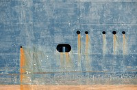 Bleeding rust from hull of tank ship