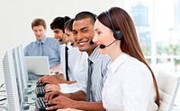 Inter tio l business people working in a call center
