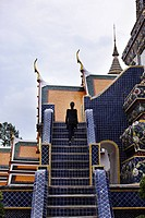 Woman climbing ornate steps