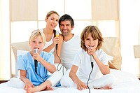 Jolly family singing together