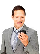 Charismatic businessman sending a text