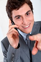 Closeup of businessman on the phone