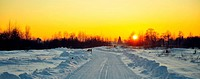 Winter sunset on the Road