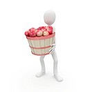 3d man with apples