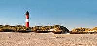 Panorama mit Leuchtturm, Strand u. Dünen