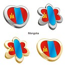 mongolia flag in heart and flower form