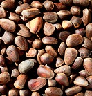 Pine nuts background, brown natural texture