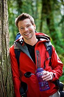 Portland, Oregon, USA, Man hiking, portrait