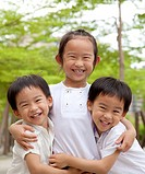 happy asian children