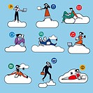 Nine young businessmen and businesswomen silhouettes, working in cloud compluting for the new economy  Color illustrations whith very schematics chara...