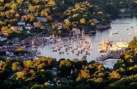 Aerial of Rockport harbor mid-coast of Maine