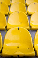 Empty yellow stadium seats