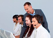 Ma ger and team working in a call center