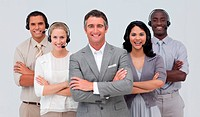 Multi_ethnic team working in a call center