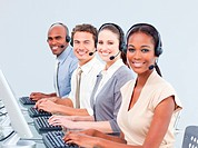 Multi_ethnic customer service representatives using headset