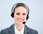 Portrait of a smiling customer agent at work