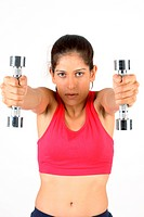 Portrait0 of a woman exercising with dumbbells