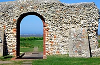 View through the arch of St  Edmunds Chapel, Old Hunstanton, Norfolk, England, UK