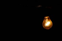 A light bulb at night
