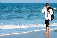 A business man on a beach