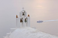 Greece, Bell Tower of whitewashed church in Imerovigli at Santorini