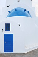 Greece, View of classical whitewashed church at Oia village, close up