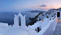Greece, View of Oia village with bell tower at Santorini