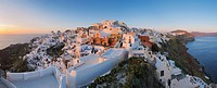 Greece, View of Oia village in sunset at Santorini