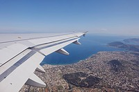 Greece, Airplane taking off with view to Athens