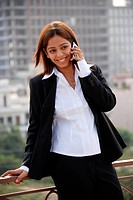 Businesswoman speaking on cellphone
