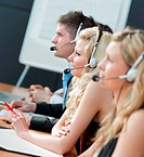 Business team in a call center