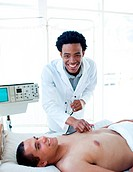 Afro_american doctor examining a patient