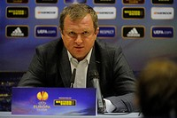 Pavel Vrba, coach of Viktoria Plzen, speaks during the press conference prior to European league soccer match against Academica Coimbra on Thursday, P...