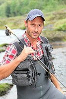 Fisherman with fishing line